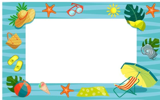Illustrazione vettoriale di oggetti estivi nautici sotto forma di una cornice orizzontale. tema delle vacanze