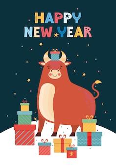 Illustrazione vettoriale per il nuovo anno per poster, sfondo o carta.