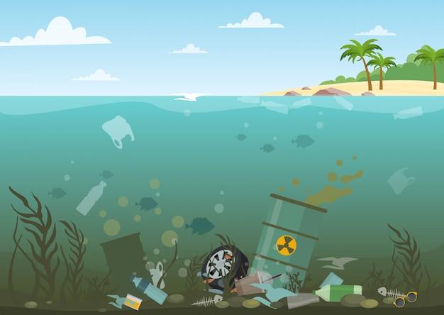 Illustrazione vettoriale di acqua dell'oceano pieno di rifiuti pericolosi nella parte inferiore. eco, concetto di inquinamento delle acque. immondizia in acqua, stile piatto.