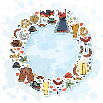 L'illustrazione vettoriale degli elementi dell'oktoberfest ha impostato il design dell'oktoberfest su sfondo con texture eps 10
