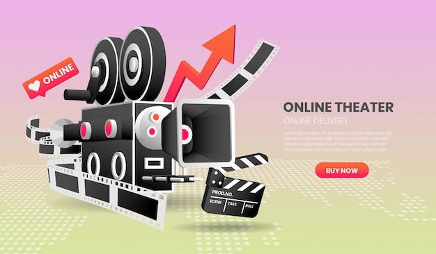 Vector l'illustrazione del concetto online di servizio del cinema adatto all'applicazione e alla pagina iniziale dell'insegna della pagina di atterraggio.