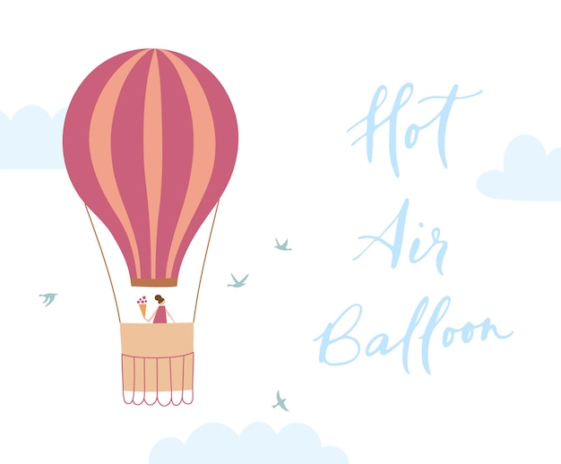 Illustrazione vettoriale di mongolfiera muta sul cielo. icona disegnata a mano isolata