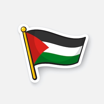 Illustrazione vettoriale bandiera palestinese sull'asta della bandiera simbolo di posizione per i viaggiatori cartoon sticker