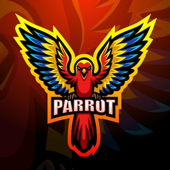 Illustrazione vettoriale di pappagallo mascotte esport logo design