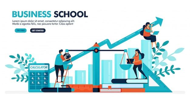 L'illustrazione di vettore della gente sta calcolando il bilancio sulla scala. diagramma grafico a barre. scuola commerciale, contabile ed economica.