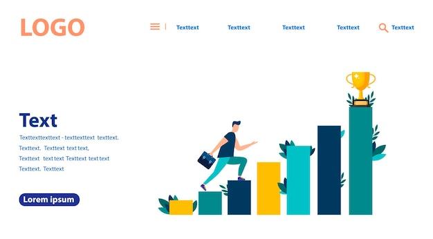 Illustrazione vettoriale, le persone corrono verso il loro obiettivo sulle scale o sui pilastri, spostandosi verso il loro sogno. motivazione, la strada per l'obiettivo. banner web, sito web mobile. modello di pagina di destinazione.