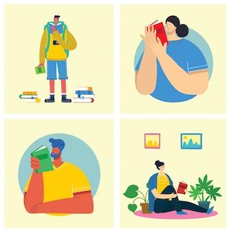 Le persone di illustrazione vettoriale imparano e acquisiscono conoscenza. il design creativo del programma che gli studenti imparano sui libri.