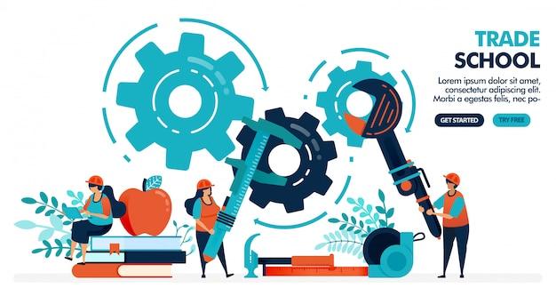 Illustrazione vettoriale di persone che imparano a riparare le macchine. scuola commerciale o professionale. università o istituto universitario. formazione professionale.