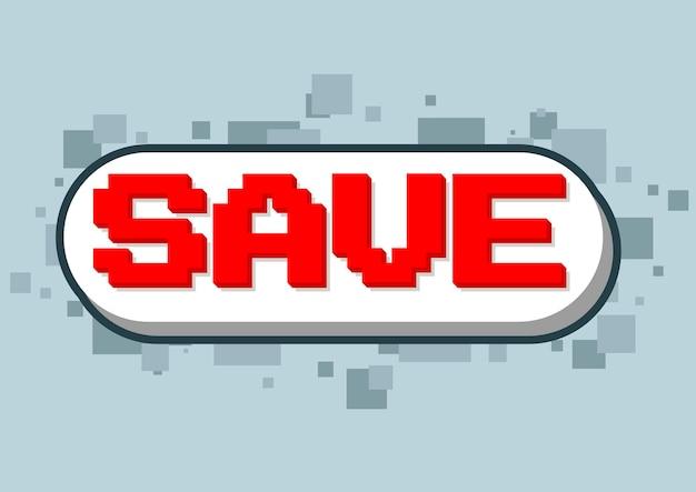Un'illustrazione vettoriale della schermata di salvataggio del testo del gioco per computer pixel