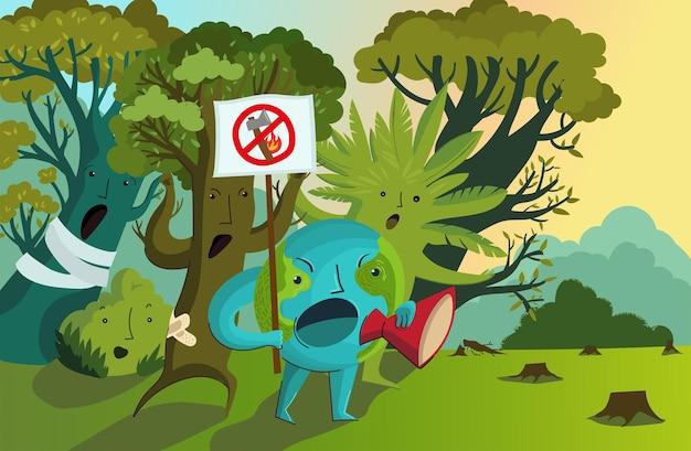 Illustrazione vettoriale di protesta contro la deforestazione, la distruzione degli incendi massicci dell'ambiente