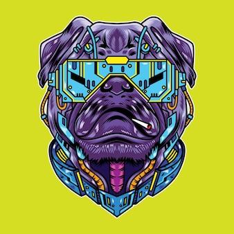 Illustrazione vettoriale di pug dog con cool futuristico stile cartoon cyberpunk in background isolato