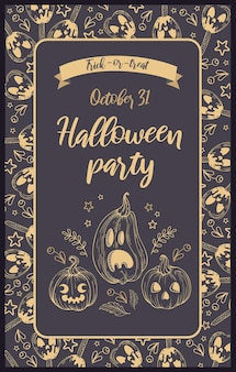 Illustrazione vettoriale. zucche, mele caramellate jack-o-lantern, frutti di bosco e scritte in stile vintage. lettere d'oro, sfondo scuro. inviti per feste di halloween, poster, cartoline, striscioni e volantini