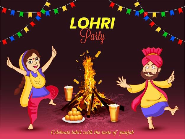 Illustrazione vettoriale del festival punjabi happy lohri party. uomo e donna che ballano bhangra nella notte dei falò.