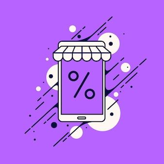 Illustrazione vettoriale dell'acquisto di beni tramite il banner di vendita su internet Vettore Premium