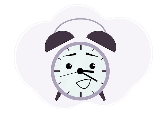 Illustrazione vettoriale di una sveglia viola con emozione sorpresa e allegra.