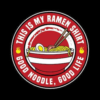 Illustrazione vettoriale di ramen udon noodle con stile emblema distintivo retrò vintage in sfondo nero