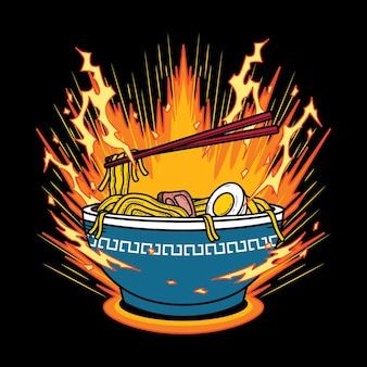 Illustrazione vettoriale di ramen udon noodle con stile vintage retrò dei cartoni animati in sfondo nero