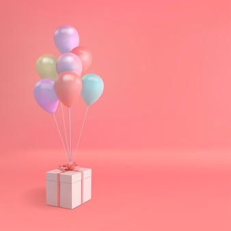 Illustrazione vettoriale di palloncini realistici e confezione regalo con fiocco su sfondo rosa