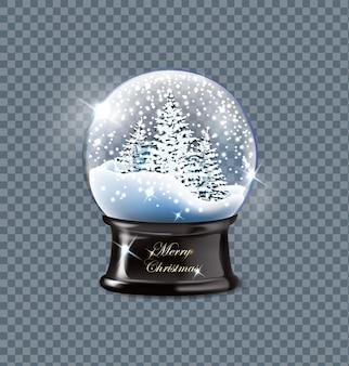 Illustrazione vettoriale realistico vuoto globo di neve di natale bellissimi alberi di natale con la neve