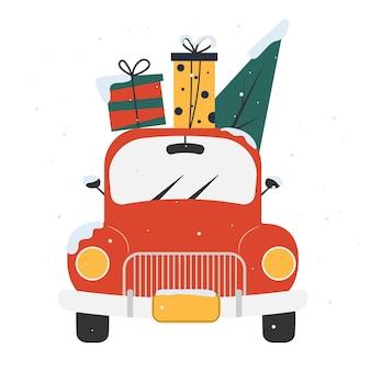 Illustrazione vettoriale di un'auto rossa l'auto porta regali e un albero di natale