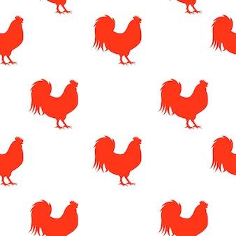 Illustrazione vettoriale del gallo di fuoco rosso, simbolo 2017 anno su