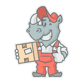 Illustrazione vettoriale, personaggio di rinoceronte che tiene in mano una scatola di cartone, formato eps 10