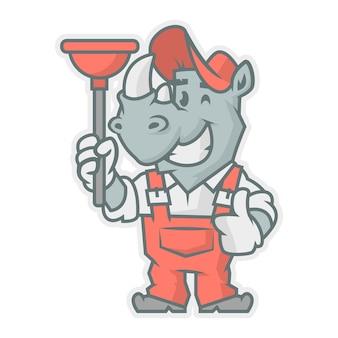 Illustrazione vettoriale, personaggio di rinoceronte che tiene lo stantuffo, formato eps 10