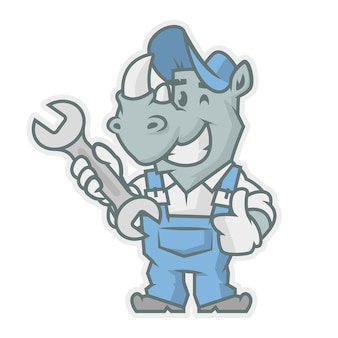 Illustrazione vettoriale, chiave inglese con carattere di rinoceronte, formato eps 10