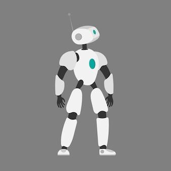 Illustrazione vettoriale di un robot. robot bianco futuristico. isolato su uno sfondo grigio. il concetto di futuro, intelligenza artificiale e tecnologia.