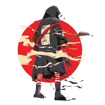 Illustrazione vettoriale chitarrista rockstar per poster