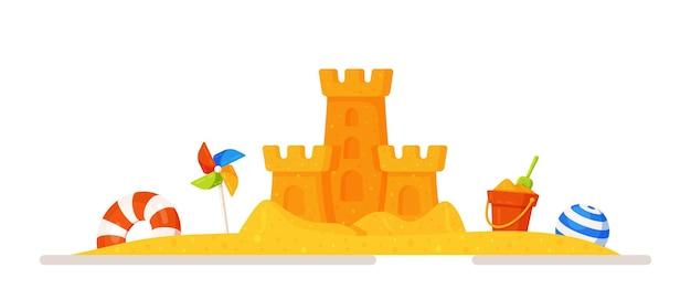 Illustrazione vettoriale di un castello di sabbia in una sandbox