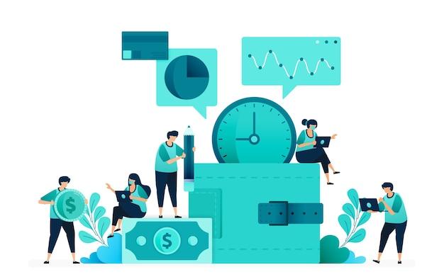 Illustrazione vettoriale di risparmio e investimento con la metafora del portafoglio. analisi finanziaria e di finanziamento. gruppo di donne e uomini lavoratori. progettato per sito web, web, pagina di destinazione, app, ui ux, poster, flyer