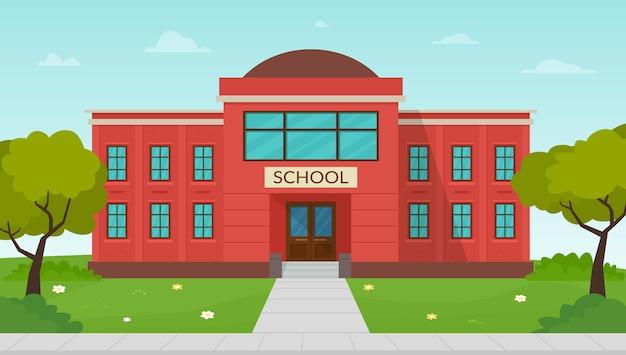 Illustrazione vettoriale della facciata dell'edificio scolastico esterno dell'istituto di istruzione pubblica
