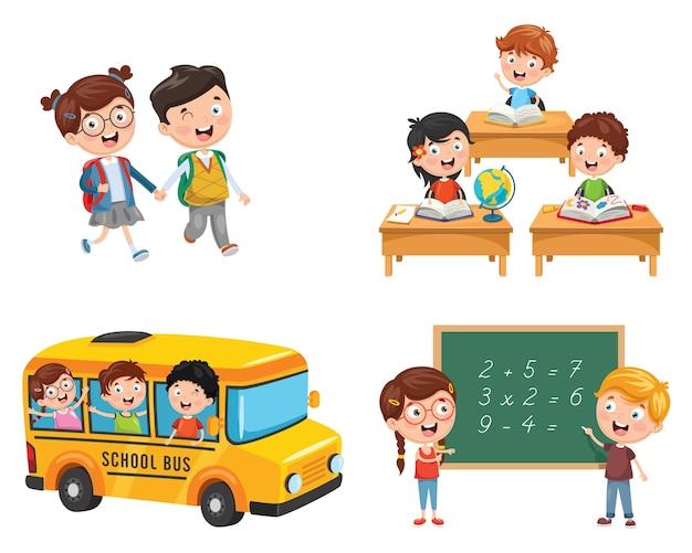Illustrazione vettoriale di scolari