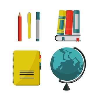 Illustrazione vettoriale di articoli per la scuola