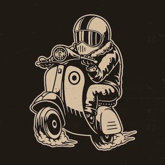 Illustrazione vettoriale di scooter con cavaliere