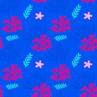 Illustrazione vettoriale. reticolo senza giunte del mare con coralli e alghe. sfondo blu, rosa, rosso.