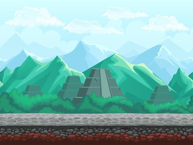 Fondo senza cuciture dell'illustrazione di vettore della piramide nelle montagne color smeraldo.