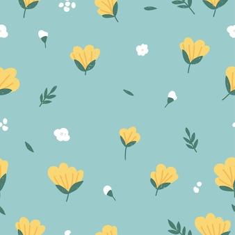 Reticolo floreale senza giunte dell'illustrazione di vettore. sfondo di fiori per il confezionamento di cosmetici.