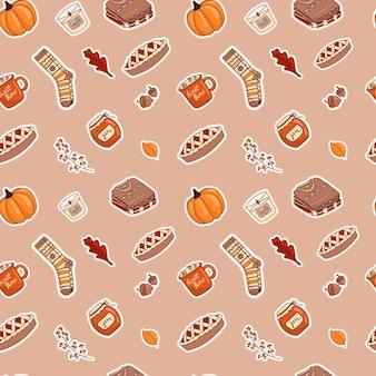 Illustrazione vettoriale di un modello senza cuciture di icone-adesivi di doodle sul tema autunnale. colori caldi, stile accogliente dei cartoni animati.