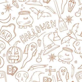 Reticolo senza giunte di illustrazione vettoriale. adesivi scarabocchiati con tema halloween. decorazione di sfondo