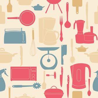 Modello senza cuciture di illustrazione vettoriale di utensili da cucina per cucinare