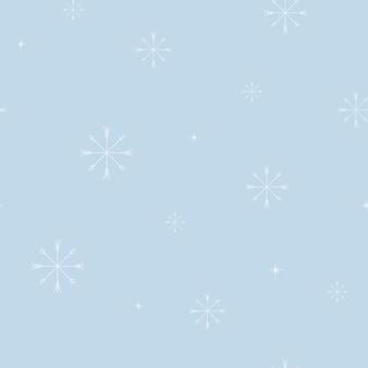 Reticolo senza giunte di illustrazione vettoriale. fiocchi di neve bianchi minimalisti su sfondo blu. decorazioni invernali e natalizie per tessuti e carta da regalo.