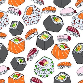 Un modello di illustrazione vettoriale senza soluzione di continuità del tema sushi.
