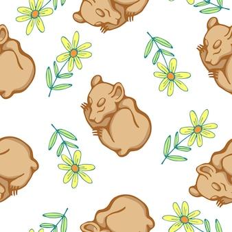 Illustrazione vettoriale del modello senza cuciture con orsetti e fiori isolati su sfondo bianco