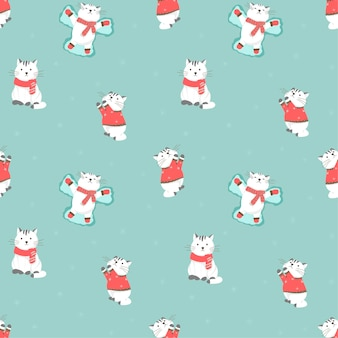 Illustrazione di vettore del reticolo senza giunte con i gatti svegli del fumetto. inverno, vestiti caldi, maglione, guanti e sciarpa. capodanno e decorazioni natalizie con la neve.