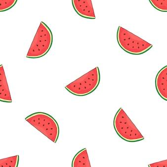 Illustrazione vettoriale modello senza cuciture con fetta di anguria che cade cibo vegetariano sano