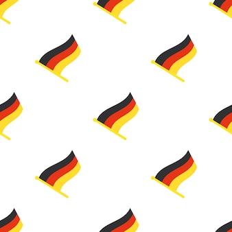 Illustrazione vettoriale. modello senza cuciture con le bandiere della germania sull'asta della bandiera su sfondo bianco