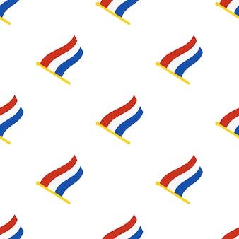 Illustrazione vettoriale. modello senza cuciture con le bandiere dei paesi bassi sull'asta della bandiera su sfondo bianco