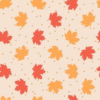 Illustrazione vettoriale seapless modello autunno umore foglie di acero rosso arancio giallo. decorazione di sfondo in stile autunnale.